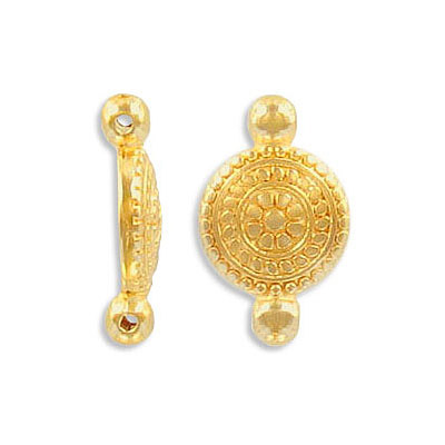 Connector, 11mm, round, zamak (zinc alloy), gold color