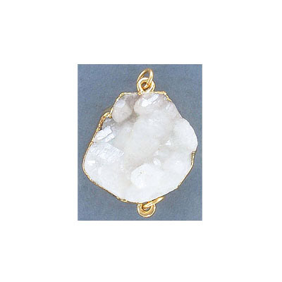 Connector pendant, 20x25mm, white iris druzy, gold plate, two loops
