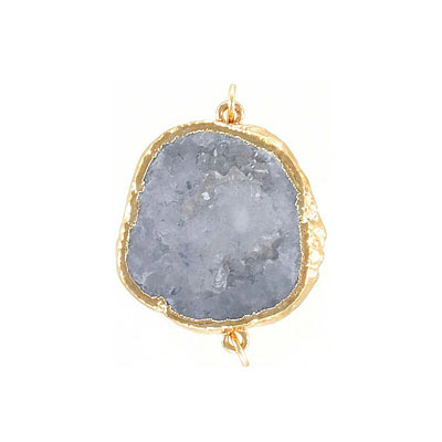 Connector pendant, 25x30mm, grey druzy, gold plate, two loops
