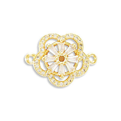 Connector, 23mm, flower, brass core, cubic zirconia pave, gold plate, approx. hole size 1.40mm