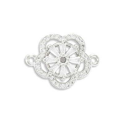 Connector, 23mm, flower, brass core, cubic zirconia pave, rhodium imitation, approx hole sizes. 1.40mm