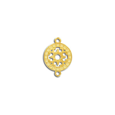 Connector, 13mm, round, zinc alloy (zamak), gold plate