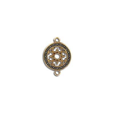 Connector, 13mm, round, zamak (zinc alloy), antique brass
