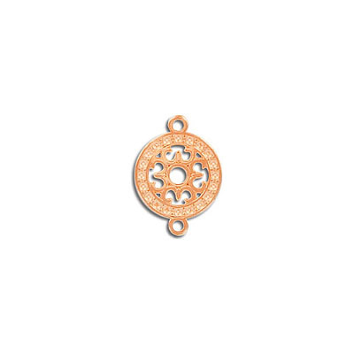 Connector, 13mm, round, zamak (zinc alloy), rose gold plate
