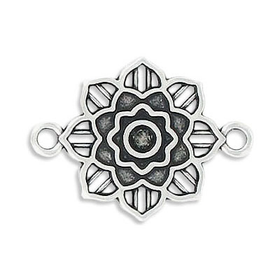 Connector, 20mm, flower, zamak (zinc alloy), antique silver