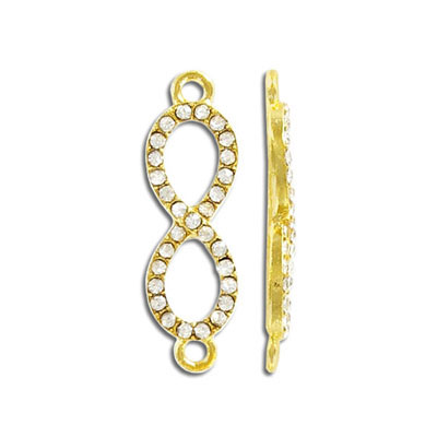 Infinity connector, 33mm, crystal, gold plate