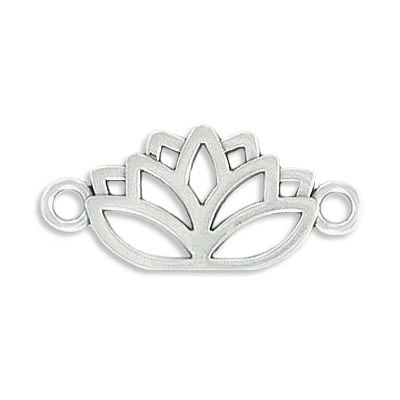 Connector, 19x12mm, lotus, zamak (zinc alloy), antique silver