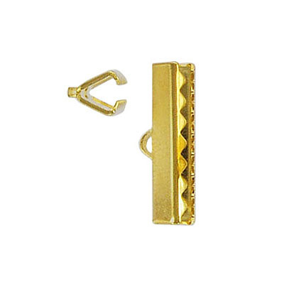 Crimp connector bar, 20x5mm, (3/4inch) gold plate