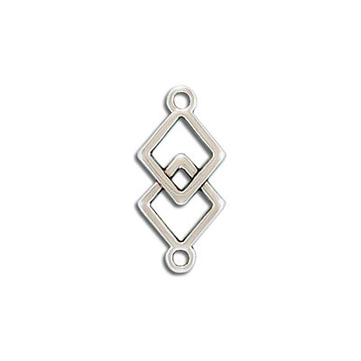 Connector, 19x12mm, two rhombus, zamak (zinc alloy), antique silver