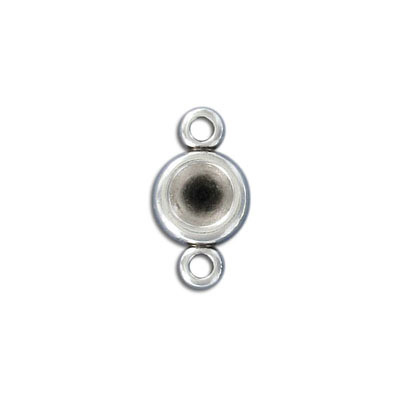 Connector with setting for ss39 stones, 12mm, zamak, antique silver, nickel free