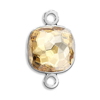 Connector, Crystal Swarovski 4483 Fantasy Cushion Fancy Stone, 14mm, crystal golden shadow, rhodium plate