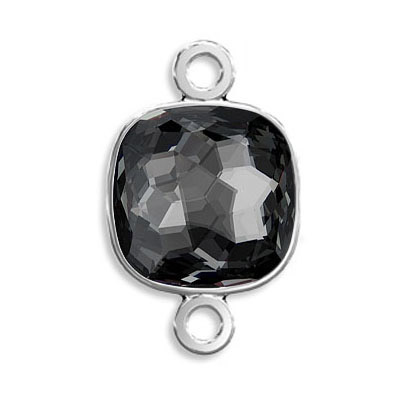 Connector, Crystal Swarovski 4483 Fantasy Cushion Fancy Stone, 14mm, crystal silver night, rhodium plate