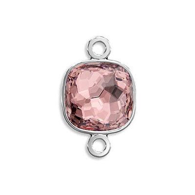 Connector, Crystal Swarovski 4483 Fantasy Cushion Fancy Stone, 8mm, vintage rose color, rhodium plate