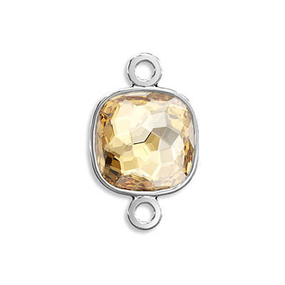 Connector, Crystal Swarovski 4483 Fantasy Cushion Fancy Stone, 8mm, crystal golden shadow, rhodium plate