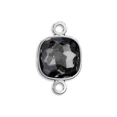Connector, Crystal Swarovski 4483 Fantasy Cushion Fancy Stone, 8mm, crystal silver night, rhodium plate
