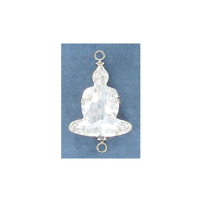 Swarovski Buddha connector, 18mm, crystal clear, rhodium imitation