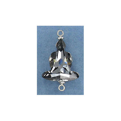 Swarovski Buddha connector, 18mm, crystal silver night, rhodium imitation