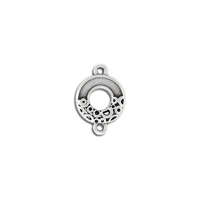 Connector, 14mm, round, zamak (zinc alloy), antique silver