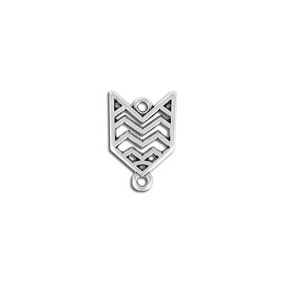 Connector, 17x13mm, antique silver, zinc alloy (zamak)