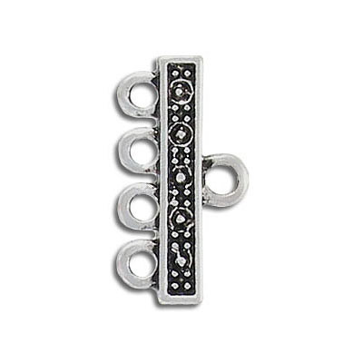 Connector, 22mm, 4 row, antique silver