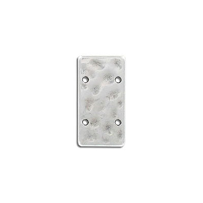 Connector, 25x13mm, rectangle, 1.2mm holes, hammered, antique silver, zinc alloy (zamak)