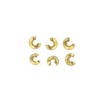 Crimp bead cover, 3mm, gold plated