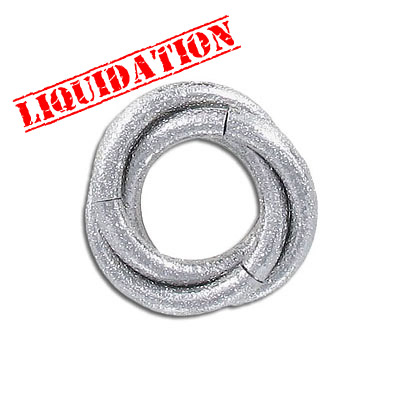 Connector, 28mm, twisted link ring, thick rhodium imitation plating (40-80mils)