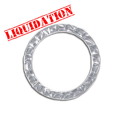 Connector, 30mm, pattern link ring, thick rhodium imitation plating Connector, 30mm, pattern link ring, thick rhodium im