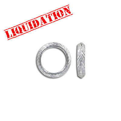 Connector, 14mm, pattern link ring, thick rhodium imitation plating (40-80mils)