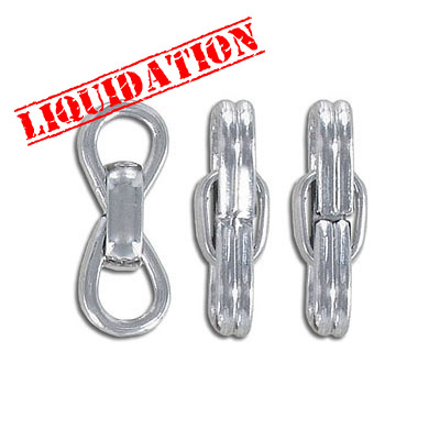 Connector, 25mm, link, thick rhodium imitation plating (40-80mils)