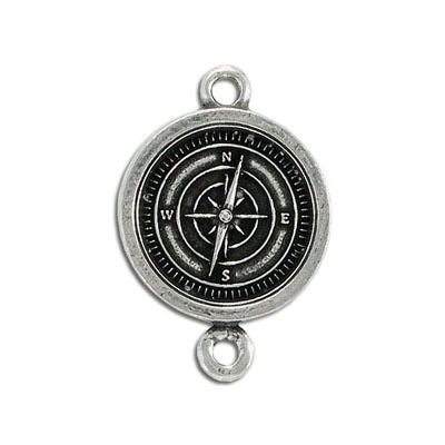 Compass connector, 25mm, pewter, lead safe