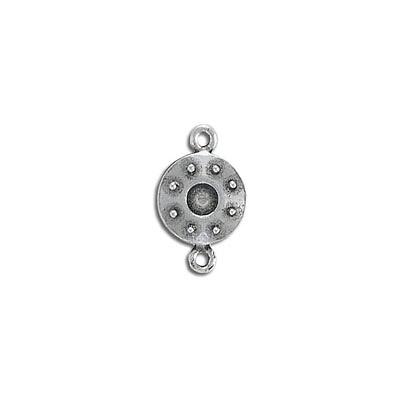 Connector, 11mm, round, with sp4mm or ss16 setting, pewter, antique silver