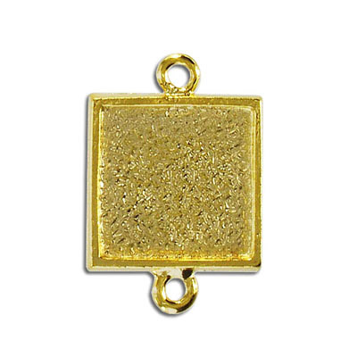 Setting connector, 20mm, square, gold plate