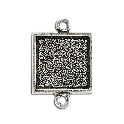 Connector, 20mm, square setting, pewter