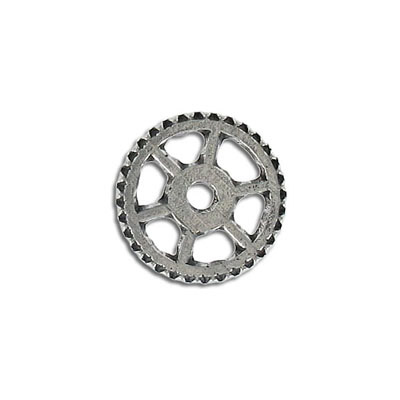 Connector, 20mm, gear, pewter