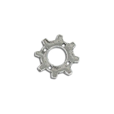 Connector, 18mm, gear, pewter