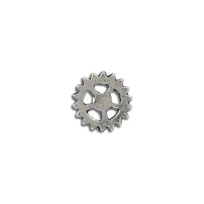 Connector, 14mm, gear, pewter