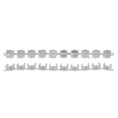 Connector base with 10 prong settings for Swarovski SS39/1088, 4 inch length, rhodium plate