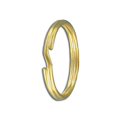Split ring, 28mm outside diameter, tempered steel, gold plate