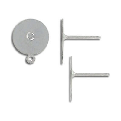 Ear post, stainless steel 10mm flat pad and loop. Grade 304L