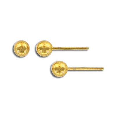 Ear post with ball only gold plated