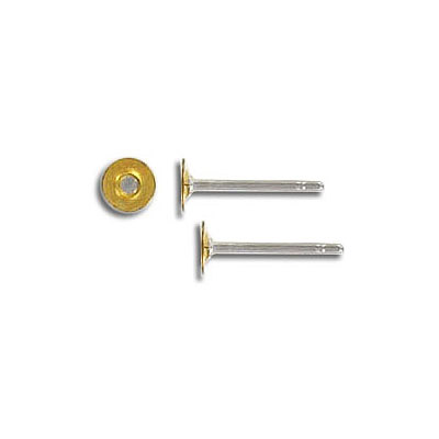Earpost, surgical steel, with 3mm brass pad