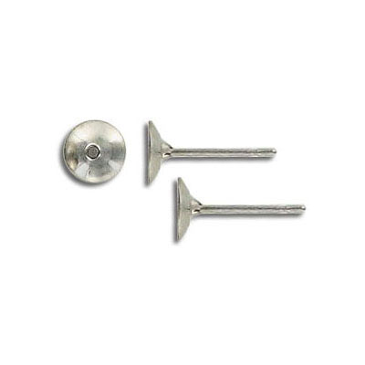 Ear post, stainless steel 6mm cup rivoli. Grade 304L