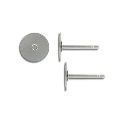 Ear post with 8mm pad stainless steel. Grade 304L