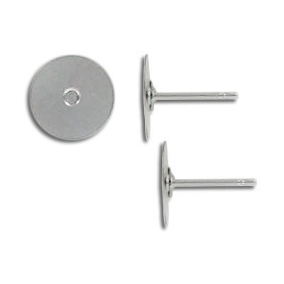 Ear post stainless steel with 10mm pad. Grade 304L
