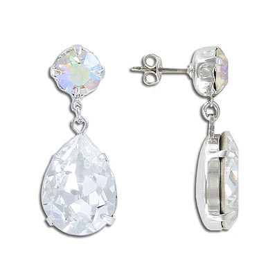 Earrings with settings for Swarovski crystals size SS39 and Swarovski 4320 size 18x13mm, rhodium plate