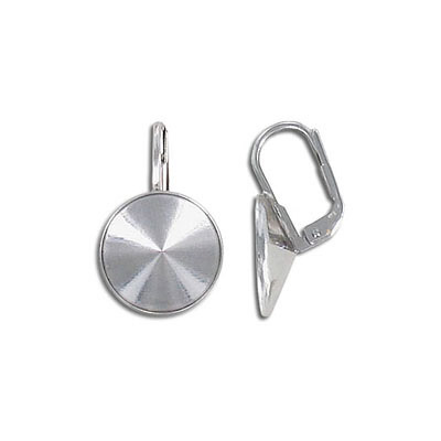 Earrings with setting for Swarovski 1122 rivoli stone, 12mm size, rhodium plate
