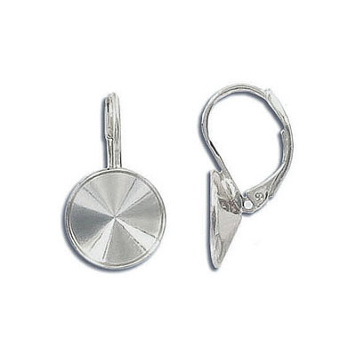Earrings with setting for Swarovski 1122 rivoli stone, 12mm size, rhodium imitation
