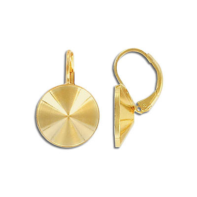 Earrings with setting for Swarovski 1122 rivoli stone, 14mm size, gold plate