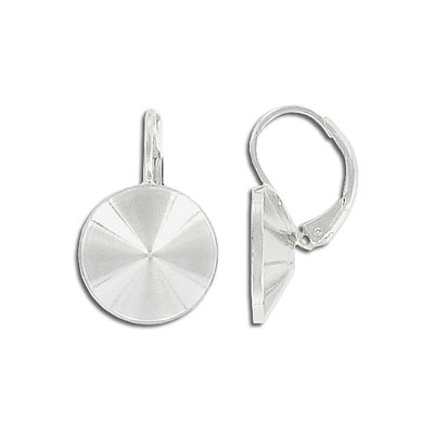 Earrings with setting for Swarovski 1122 rivoli stone, 14mm size, silver plate